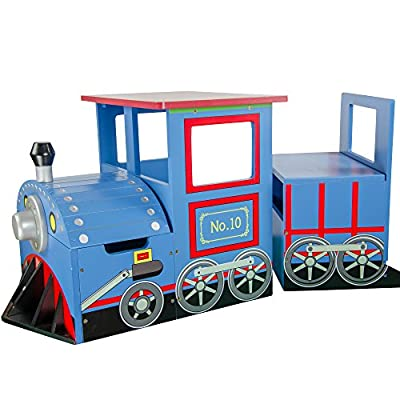 Teamson Kids - Little Kids Blue Train Writing Desk on Wheels and Storage Bench Set by Teamson Design Corp.