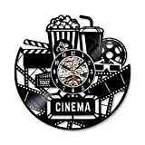ReaYouth Balck CD Vinyl Record Clock Art Wall Clock, 12'' Cinema Popcorn Movie Film Theme Vinyl Clock Wall Art Silhouette Gift For Movie Lover (A)