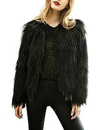 Women's Vintage Winter Warm Fluffy Faux Fur Coat Jacket Outwear