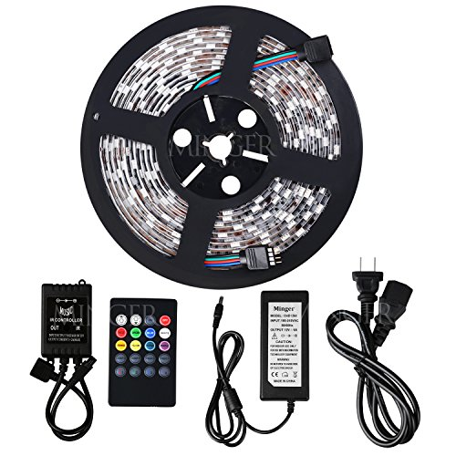 Minger Waterproof Music LED Strip Light 16.4ft 300leds RGB SMD 5050 Color Changing with 20-keys IR Music Remote Controller & 6A 12V Power Supply for Home, Kitchen, Indoor & Outdoor Use