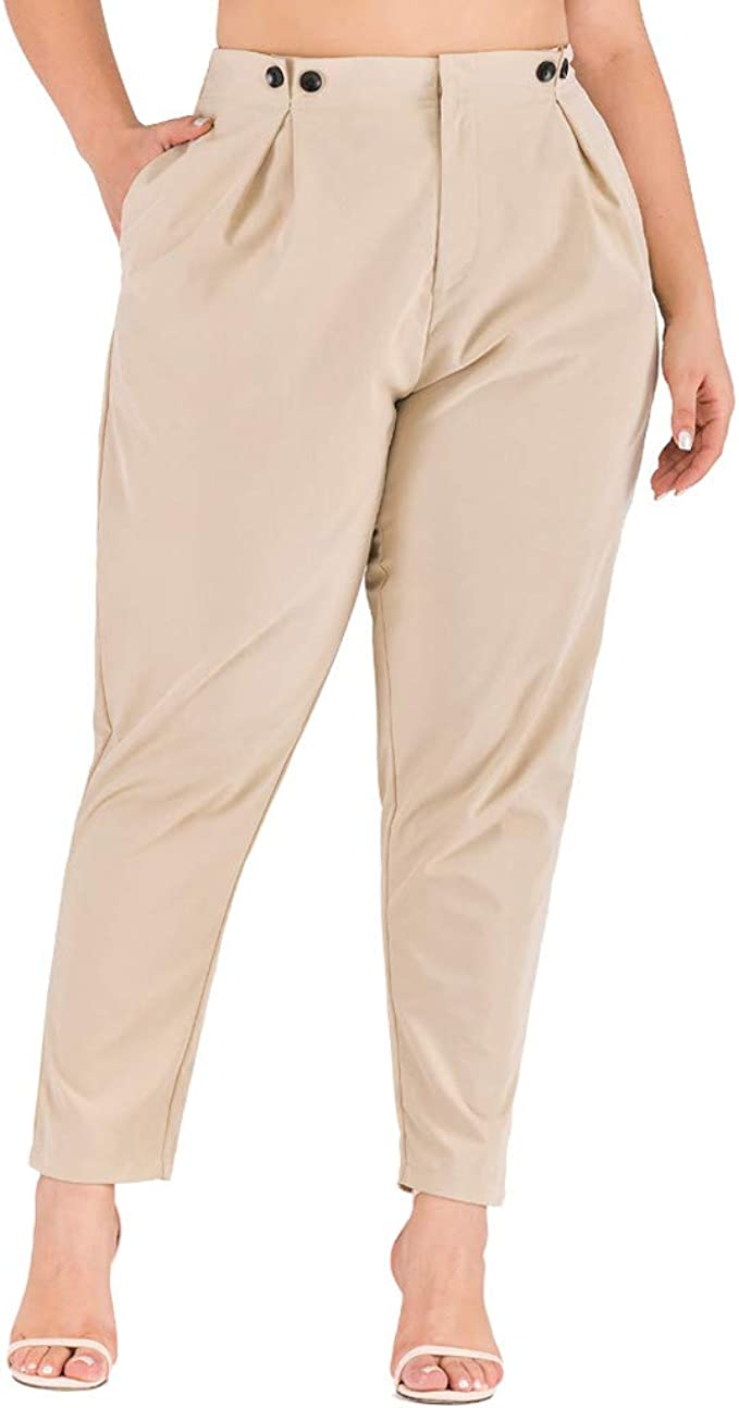 Pantalones Mujer Anchos Casual Talla Extra Color Solido Pantalón ...