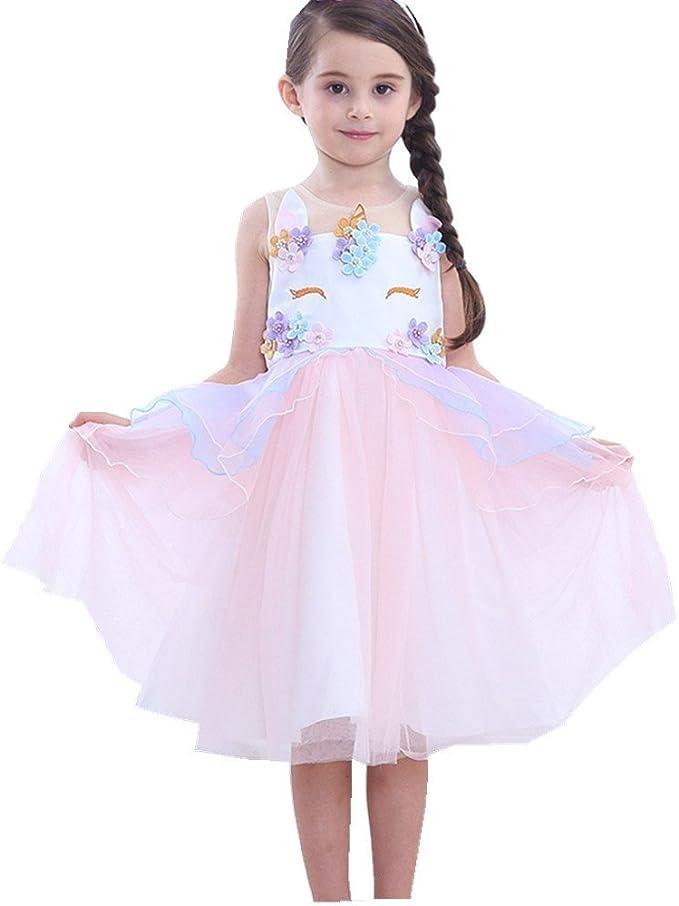 Amazon.com: Disfraz de unicornio para niñas, vestido de tutú ...