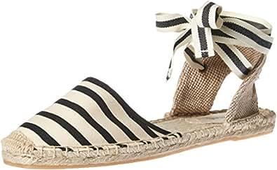 Soludos Women's Classic Stripe Sandal, Natural Black, 5 B US