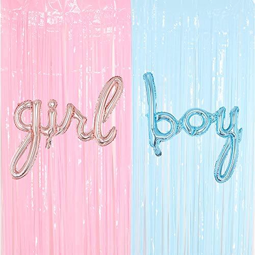 Gender Reveal Decoration Set - Pastel Fringe Curtains BOY Girl Foil Balloons Gender Reveals Party Photo Backdrop (Pink/Blue)