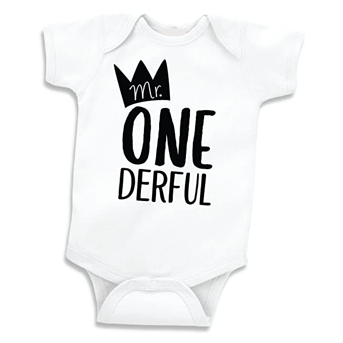Boy First Birthday Outfit Mr One Derful Shirt 6 12 Months