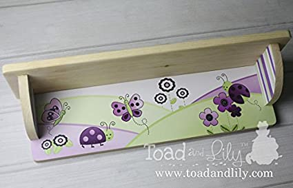 Plum Love Bug Ladybugs Flowers Wood Bookshelf Girls Nature Kids Bedroom Baby Nursery SHL002