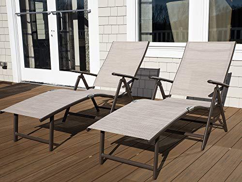 Kozyard Cozy Aluminum Beach Yard Pool Folding Reclining Adjustable Chaise Lounge Chair (1, Beige)