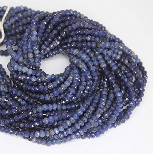 Beads Bazar Natural Beautiful jewellery Natural Blue Lapis Lazuli Faceted Rondelle Micro Gemstone Craft Loose Beads Strand 13
