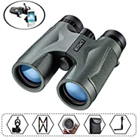 HUTACT Binoculars for Adults Birdwatching, 10x42 Compact BAK4 Prism FMC Fully Multi Coated Lenses, Suitable for Hunting, with Tripod Connector and Smartphone Adapter etc