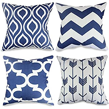 popeven 4 packs navy blue throw pillows home decor design pillow covers for living room square