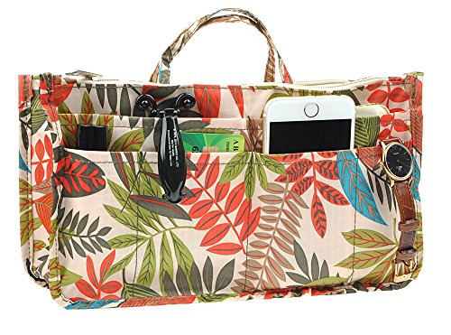 Vercord Printed Purse Handbag Tote Insert Organizer 13 Pockets with Zipper Handle Rainforest Large
