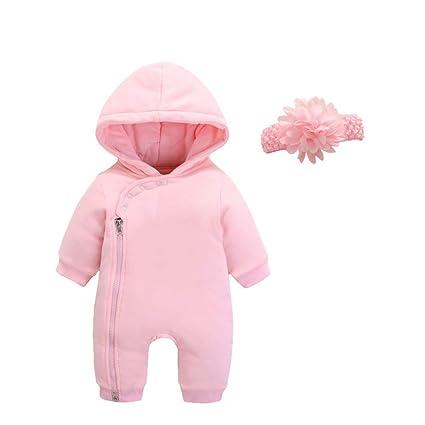0b514f73a QSEFT Mameluco del Bebé Otoño Invierno Mono Recién Nacido Ropa Niños  Invierno Niñas Pantalones Gruesos Pijamas