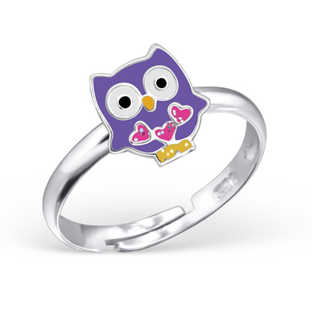 Purple Owl Ring Girls Sterling Silver 925 Size Adjustable 2-4 (E24746)