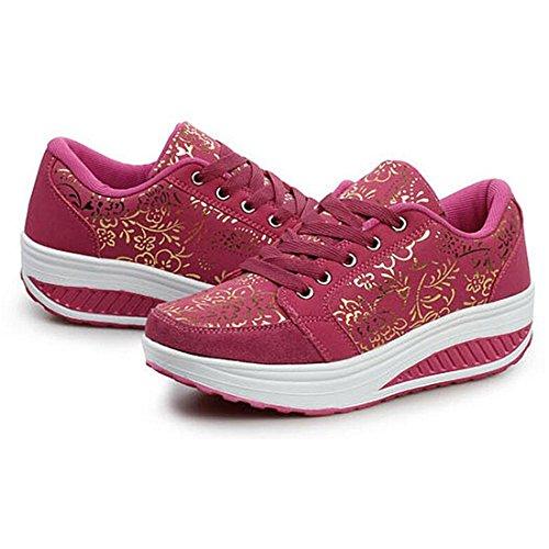 Piattaforma Rosa Zhenghewyh Scarpe Che Sport Corsa Rossa Camminano Respirabili Da Donne Pendenza Casual Sneaker d7ZZxCqw