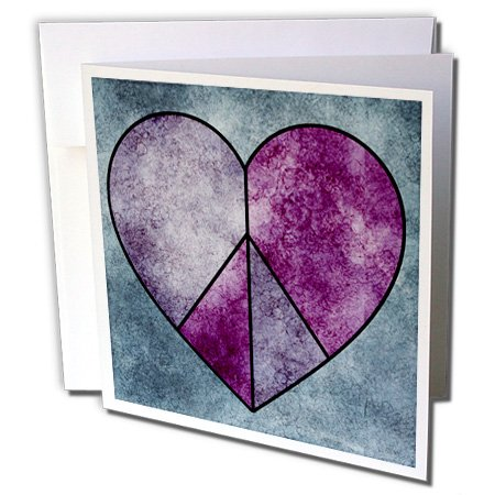 (3dRose Greeting Cards, 6 x 6 Inches, Pack of 12, Pink Grunge Peace Sign Heart - Fun Art (gc_63654_2))
