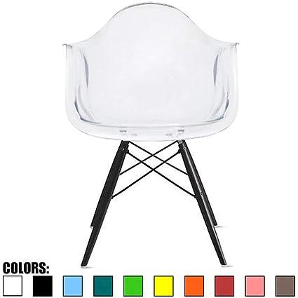Amazon.com: 2 x home – sillón de plástico negro patas de ...