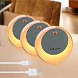 Motion Sensor Kids LED Night Light, OKeanu Moon Nursery Baby Safe Lights Stick On Anywhere Closet Nightlight Lamp Under Cabinet Lighting Rechargeable Battery Powered Cordless Bulbs (Yellow, 3 Pack)