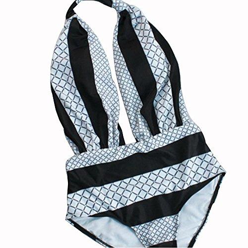WANGXN traje de baño bikini mujer fuga de la parte posterior atractiva blanco y negro a cuadros pieza de baño bikini lattice