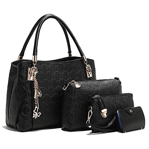Bolso bolso Pequeño Negro de Crossbody Negro para mujer Tibes Monedero A C hombro qISUFnUw