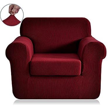 Chunyi 2-Piece Jacquard Polyester Spandex Sofa Slipcover (Chair, Wine)
