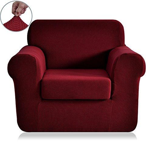T-cushion Chair Stretch Slipcover (Chunyi 2-Piece Jacquard Polyester Spandex Sofa Slipcover (Chair,)