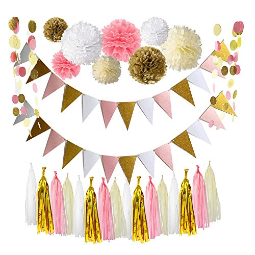 Ipalmay Pink Gold White Theme Wedding Decoration Set, Mix Color Triangle Glitter Banner, Variety of Tissue Pom Poms with Tissue Tassel, Glitter Polka Dot Paper (Wedding Theme Colors)