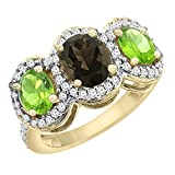 10K Yellow Gold Natural Smoky Topaz & Peridot 3-Stone Ring Oval Diamond Accent, sizes 5 - 10