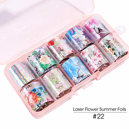 10pc/box DIY Manicure Decals,Holographic Laser Rose Gold Nail Art Stickers,Matte Flower Starry Sky Nail Foils Transfer Sticker nail sticker art Design Stamping DIY Decals (22)