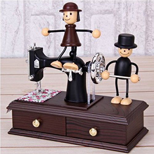 Glovion Lover Couple Design Plastic Music Box with Wind-up Vintage Mini Sewing Machine Movement for Desk Decoration & Gifts