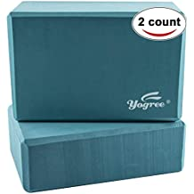 "yogree Yoga Blocks, 9""x6""x4"" - High Density EVA Foam Brick Provides Stability Balance & Support, Improve Strength and Deepen Poses - Great for Yoga, Pilates, Workout, Fitness & Gym"