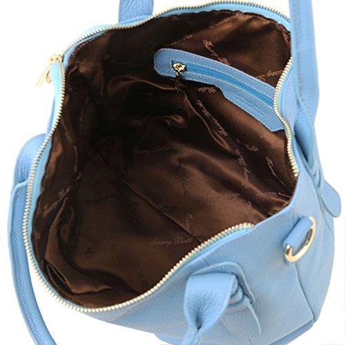 pelle in TL141705 Celeste a Leather morbida TL mano Borsa Tuscany Cognac Bag wqYBZR0