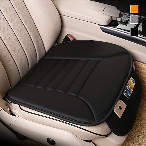 Lofty Aim Premium Car Seat Cushion, Driver Seat Cushion with Comfort Memory Foam & Non-Slip Rubber Bottom with Storage Pouch, Car Seat Pad Works with 95% of Vehicles and Office Chair or Home (Black)