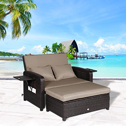 Cloud Mountain 2 Piece Patio Wicker Rattan Love Seat Sofa Daybed Set Outdoor Patio Love Seat Store Ottoman Garden Furniture Set Chaise Lounge, Mix Brown Rattan with Khaki Cushions (Daybed Patio Furniture)