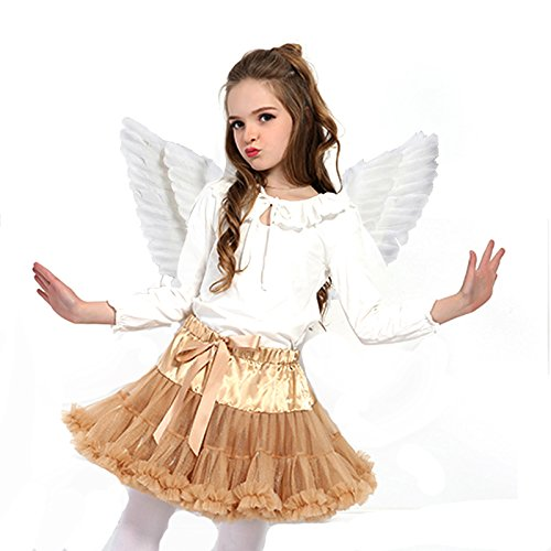 Newdanceus Christmas Costume Angel Feather Wings Butterfly Style Theme Party Costumes (Kid, White) -