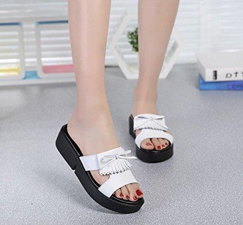 spagna Pantofole bianco 5 bow il pendio AJUNR Su Donna e tie 39 Alla dolce a filtro Da di Moda pan 38 cm Sandali qFX84