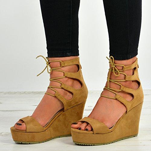 Cucu Fashion New Womens High Heel Wedge Sandals Ladies Platform Lace up Shoes Size UK 3-8 Camel 9yRJxokT8G
