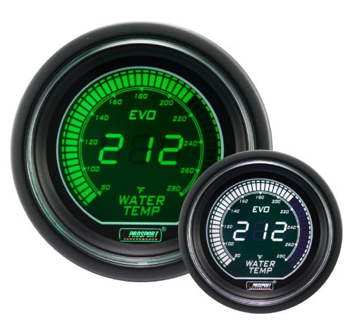 Water Temperature Gauge- Electrical Green/white EVO Series 52mm (2 1/16