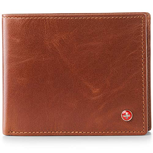 (Alpine Swiss RFID Mens Wallet Deluxe Capacity Passcase Bifold With Divided Bill Section Brown)
