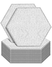 """ZHERMAO 12 Pack Hexagon Acoustic Panels Beveled Edge Sound Proof Foam Panels, 14""""X13""""X 0.4"""" High Density Sound Proofing Padding for Wall, Acoustic Treatment for Studio, Home and Office (Grey)"""