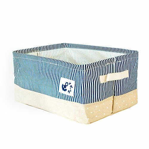 Four Basket Pull Out Pantry - Zonyon Nautical Storage Bin, 14'' Collapsible Canvas Storage Basket|Folding Rectangle Box Container with Handle for Baby Nursery,Toy,Clothes|Beach Anchor|Mariner Sailor Theme,Navy Blue