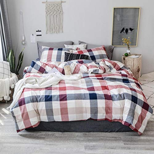 MKXI Cotton King Size Bedding Duvet Cover Set Geometric Wine Red Blue Grid Plaid Bed Set Comfortable and Lightweight