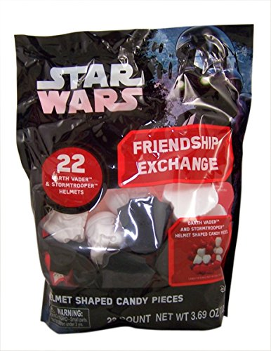 Star Wars Helmet Shaped Plastic Valentines with Hard Candy, 22 Count (Star Wars Candy)