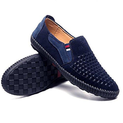 de Respirables conducción Primavera Hombres de Ocasionales Zapatos Azul Cuero de de los Zapatos pzAqx