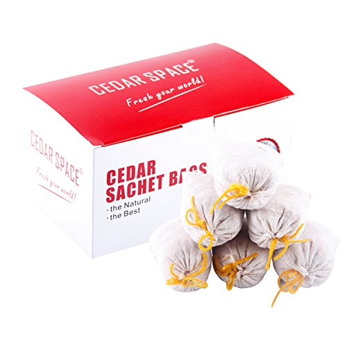 Cedar Blocks for Closet Storage, 100% Nature Aromatic Red Cedar Sachet Bags for Wardrobe (6 Sachet Bags)