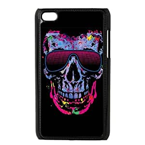 iPod Touch 4 Case Black Neon Skull with Glasses G2G7HN