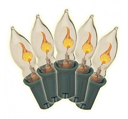 Brite Star Flickering Flame Light Set 7 Light Clear 5' Indoor/Outdoor Use Green Cord by Brite Star