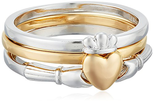 Rhodium and 18k Yellow Gold Plated Sterling Silver Claddagh Stacking Ring, Size 7