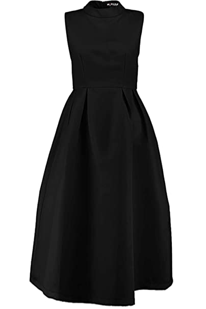 Oops Outlet Womens Ladies Sleeveless Polo High Neck Pleated Flared Swing Midi Prom Dress