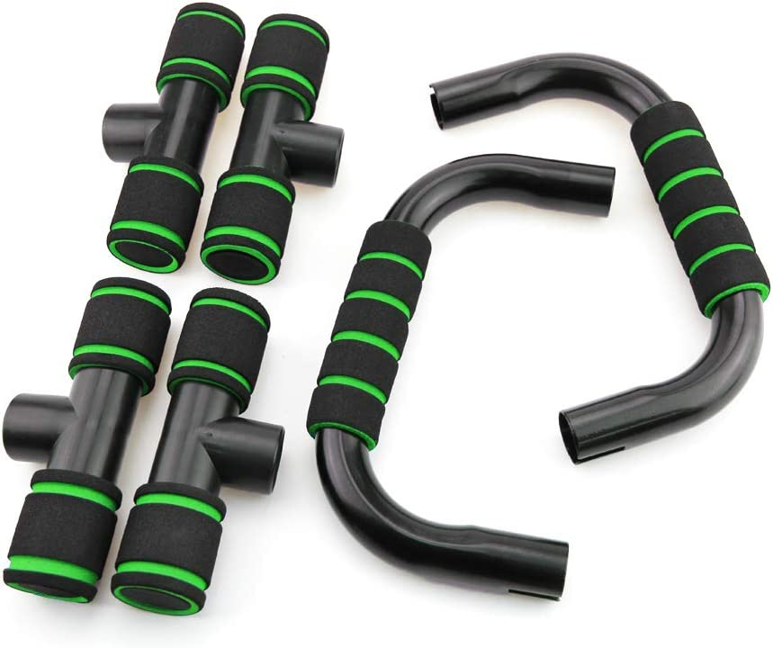 MUEUSS Push Up Bars Push up Stands for Core Strength Training, Steel Handles with Cushioned Foam Grips, Push Up Handles for Floor(Green) : Sports & Outdoors