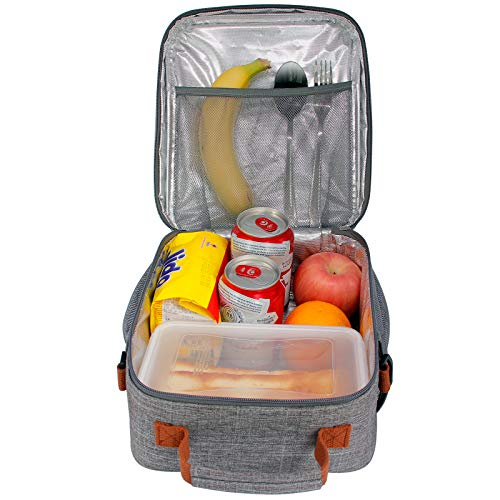 buways Lunch Box, Insulated Lunch Bag for Men, Adults, Women, Durable & Spacious Lunchbox for Work, Picnic, Hiking - 25% Larger Greater Storage (Gray)